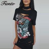 FIONTO Hollow Out T Shirt Women Summer Tops Casual Print Skeleton T Shirts Slim Cartoon Gray