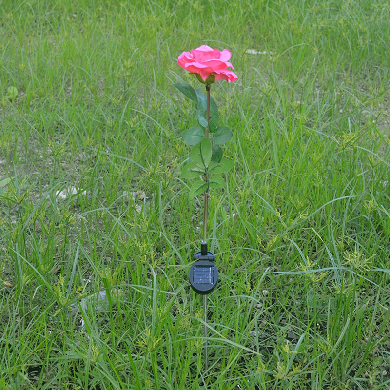 SOLLED Outdoor Solar Powered Pink Rose Flower Lights Solar Power Garden Decorative Stake Lamp LED Rose Lights for Home Garden