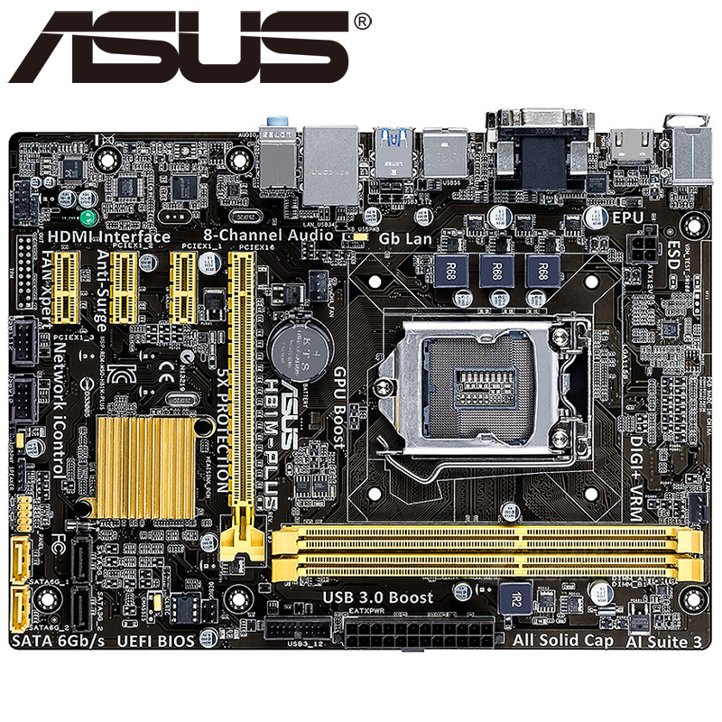original motherboard for ASUS H81M-PLUS LGA 1150 DDR3 for I3 I5 I7 CPU USB2.0 USB3.0 16G H81 desktop motherboard Free shipping free shipping original motherboard for asus f1a55 v plus socket fm1 ddr3 boards a55 desktop motherboard