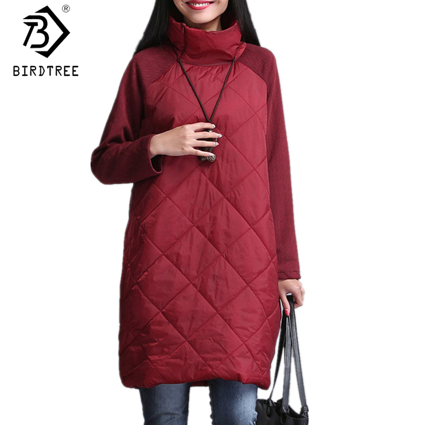 New 2017 Plus Size Fall Winter Women Dresses M- 4XL Turtleneck Casual Loose Patchwork Robe Cotton Black Gray Red Dresses D7N411A