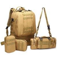 4Pcs Set 45L Oxford Outdoor Sport Bag Mochila Tactical Military Backpack Waterproof Molle Bag Trekking Hunting