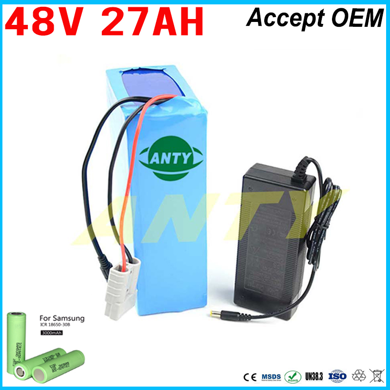 48 Volt Electric Bicycle Battery 27ah Lithium Battery Pack For Samsung 30B Cells 30A BMS with 2A Charger Free Shipping Duty free customs taxes high quality skyy 48 volt li ion battery pack with charger and bms for 48v 15ah lithium battery pack