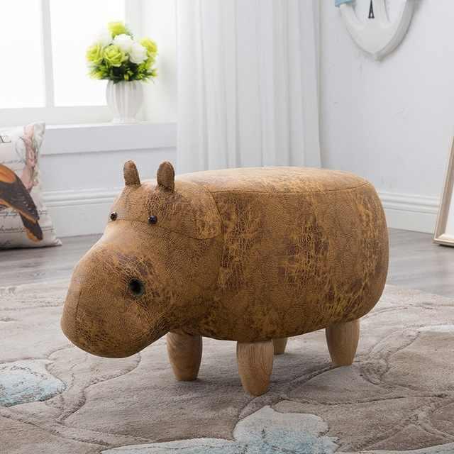 Mignon Hippos Style tabourets bois repose-pieds chaise avec boîte de rangement à l'intérieur des meubles canapé enfant dessin animé poufs décor à la maison banc