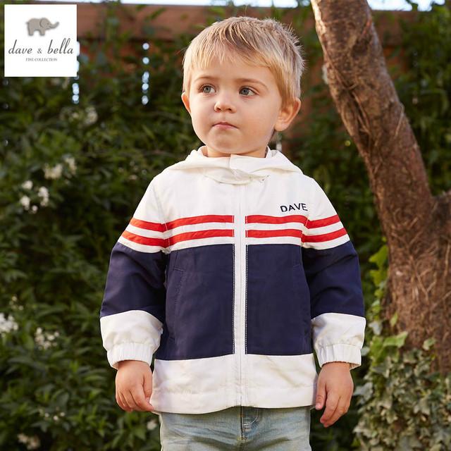DB4934 dave bella bebé primavera niñas impreso hoodies sudadera primavera niños muchachos de la capa con capucha de los niños de la capa