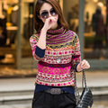 Nuevas mujeres Del Estilo ocasional de la manga completa suéteres jerseys tops 2015 nuevo invierno de prendas de punto de Gran tamaño de estilo étnico mujeres Y1208-79F