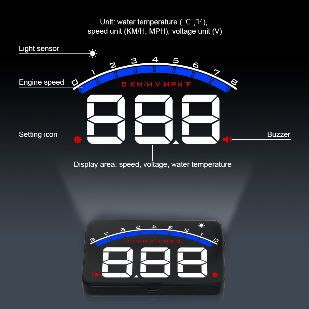 Image 2 - GEYIREN Auto Electronic Overspeed Warning System Water Temperature Alarm Car HUD OBD2 RPM Meter M6 Head Up Display-in Head-up Display from Automobiles & Motorcycles