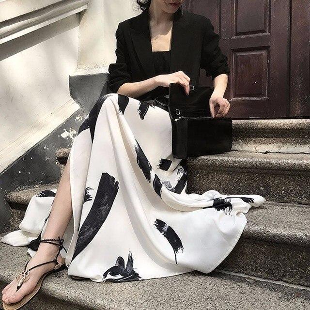 TWOTWINSTYLE Print Split Skirt Ladies High Waist Elastic Large Size X Long Elegant Skirts Female 2019 Spring Summer Tide Clothes 2