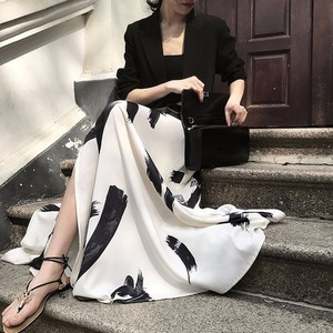 Image 2 - Twotwinstyleプリント分割スカートの女性のハイウエスト弾性大サイズxロングエレガントなスカート女性2020春夏の潮服