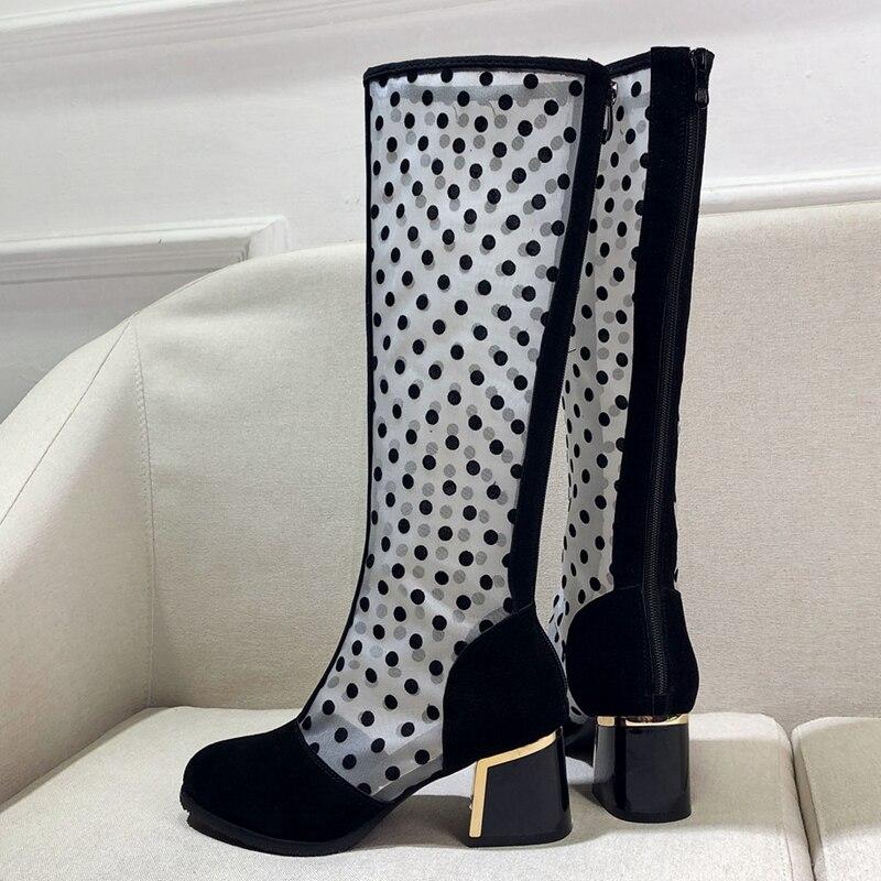 Pour Asileto Frais D'été Flock Chaussures Noir Bottes Femmes Été Dot Sabot Printemps Black Genou Zipper Rond Mesh Talon Bout Femme Air S1141 rCtQshd