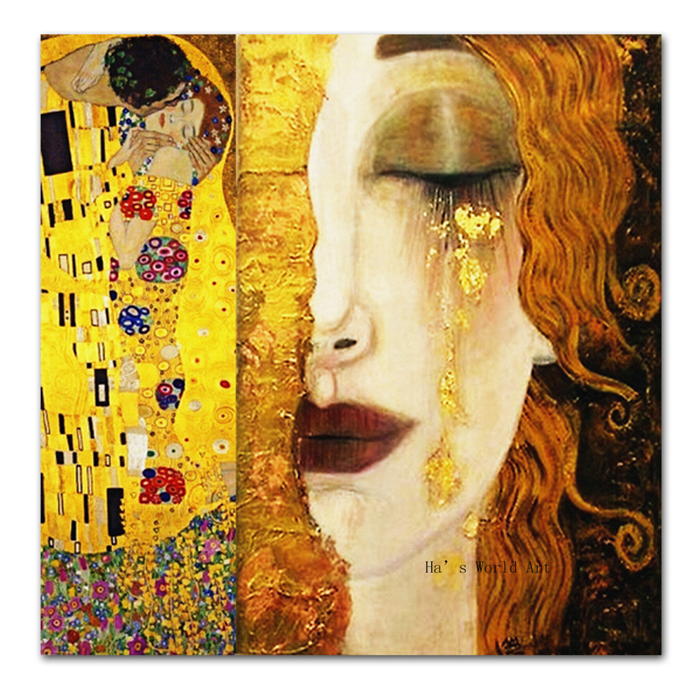 SELFLESSLY-golden-tears-Gustav-Klimt-paintings-Reproduction-oil-on-canvas-Printed-Oil-Painting-beautiful-woman-artwork