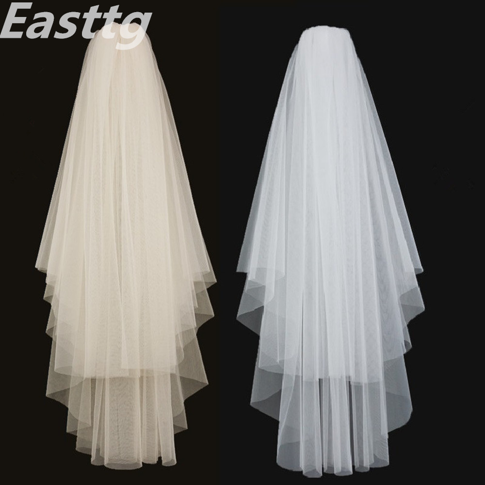 Bridal Veils Comb Wedding-Veil Soft-Net Ivory Veu-De-Noiva Elegant Cut-Edge White 2-Layers