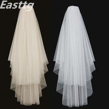 Branco marfim elegante véus de noiva 2 camadas com pente borda de corte macio net véu casamento acessórios veu noiva