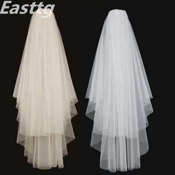 White Ivory Elegant Bridal Veils 2 layers With Comb Cut Edge Soft net Wedding Veil Accessories Veu de Noiva - discount item  19% OFF Wedding Accessories