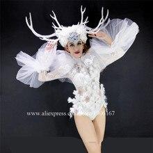 Свет пикантные женские вечерние платье DS Рождественская одежда со светящимися вставками танца Костюм Косплэй Маскарад LED одежда
