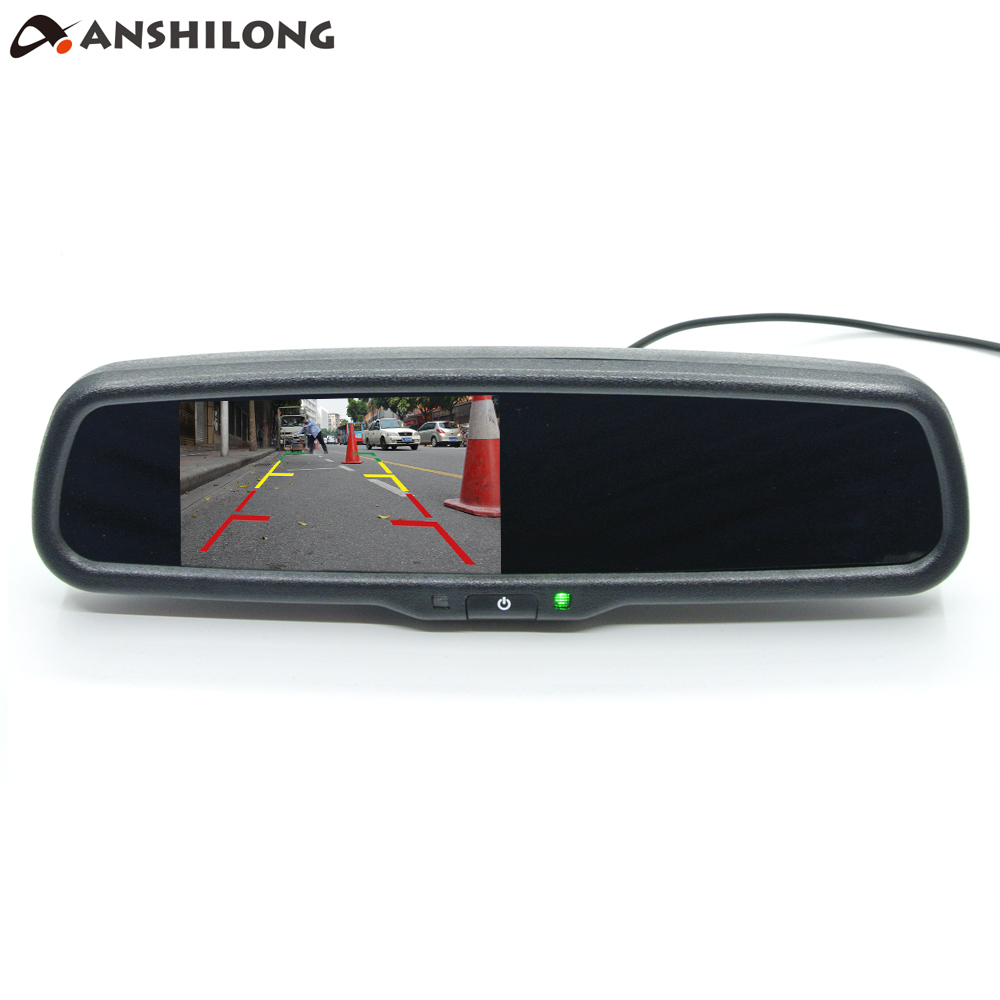 ANSHILONG Universal 4 3 TFT LCD Interior Replacement Rear View Mirror Car Monitor 2Ch Video input