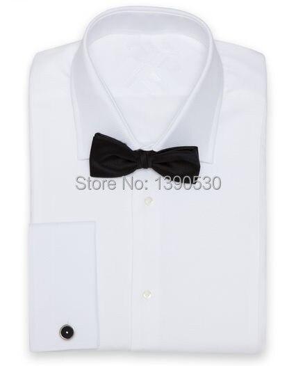 Nouveau design 100% coton pur blanc coupe col avec manchette française et patte de boutonnage dissimulée chemise pour hommes