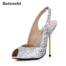 Batzuzhi 12.4CM Italian Style Women Shoes Open Toe High Heels Silver Bling Women Sandals for Wedding and Party Zapatos Mujer doershow latest style african shoes and bag set new italian high heels shoes and matching bag set for party dress kh1 23