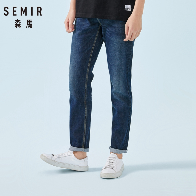 SEMIR Retro Jeans for Men Skinny Jeans Washed Jeans Soft Cotton Slim Fit Elastic Male Classic Stylish Pants