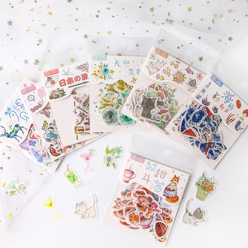 40pcs/pack Kawaii Animals Beautiful Scenery Decorative Washi Stickers Scrapbooking Stick Label Diary Stationery Album Stickers