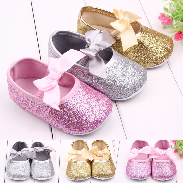 J Ghee 2017 Baby Shoes Bling Shine Baby Girl Shoes Princess Girls Shoes For Newborn 11-13CM Toddler Shoes First Walkers Infant