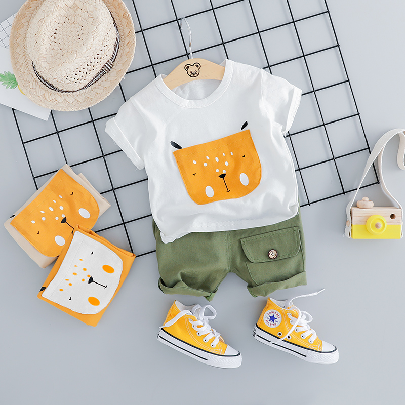HYLKIDHUOSE 2019 Summer Baby Girls Boys Clothing Sets Infant Clothes Suits Cartoon T Shirt Shorts Kids Children Vacation Costume 1