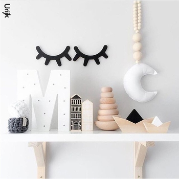 Urijk 2PCs Ins Nordic Wood Eyelashes Cartoon 3D Wall Sticker DIY Children Bedroom Props Home Living Room Decoration 15*11cm