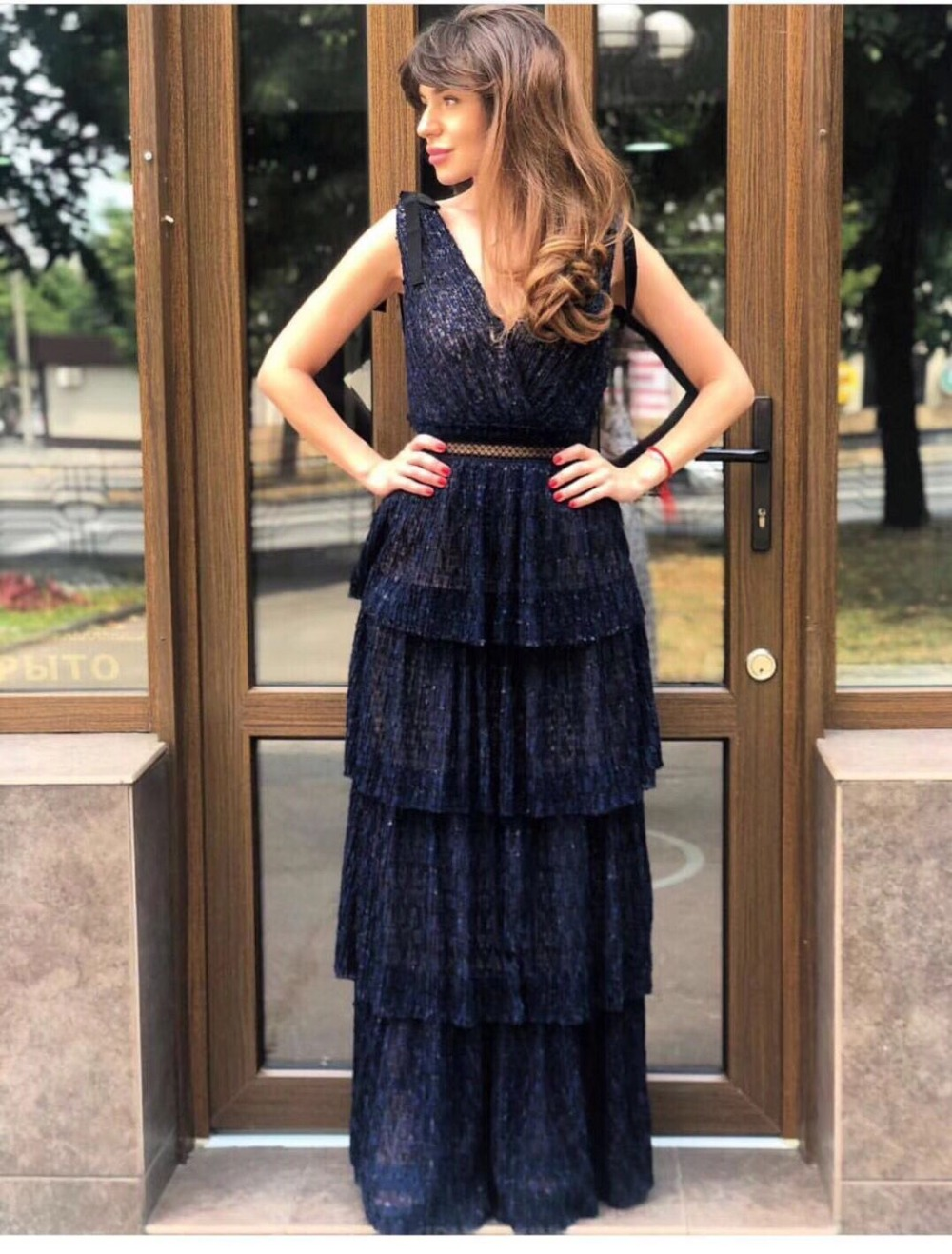 Navy blue elegant long women party dress sexy backless female dress