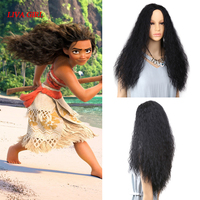 2018 New Arrival Movie Moana Prince Moana Black Fluffy Long hair Cosplay Curly Wig with Hair net Moana Wig Free shipping