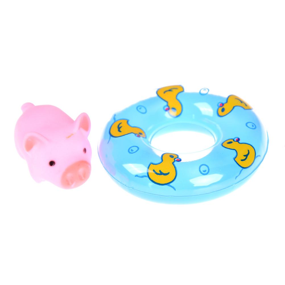 Doll Lifebelt Ring Animals Swimming Water Soft Floating Rubber Pink Pigs Squeeze Sound Squeaky Bathing Toy