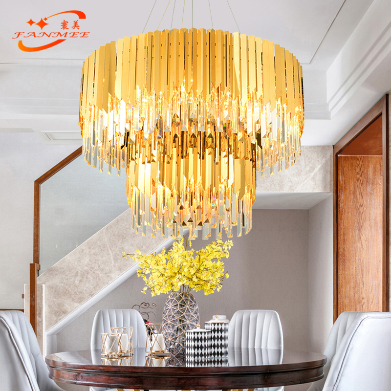 Round Crystal Chandelier Lighting Restaurant Chandelier Modern Pendant Hanging Lamp Living Dining Room Lighting Fixture in Chandeliers from Lights Lighting