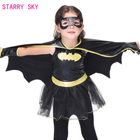 Children Anime Party Batman Dress Halloween Cosplay Costume Girl Kids Superhero Costume Superman Dress With Goggles Gloves Cloak