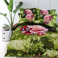 Pink Rose Butterfly And Green Leaf Print Bedding Set Queen Size 100 Cotton 3D Floral Bed