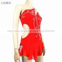 The New Women's Pole Dancing Costume Red high elastic fabric gauze Sexy Shiny rhinestone Sleeveless