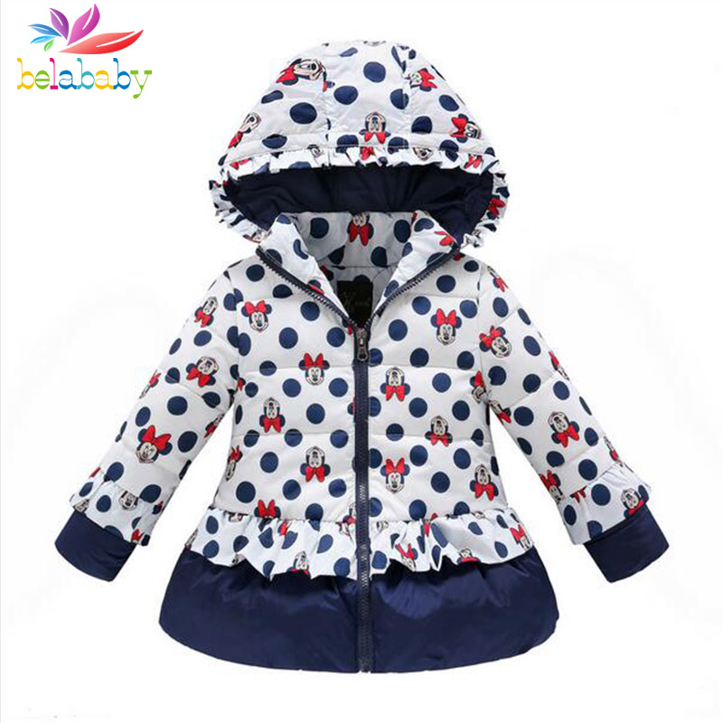 Belababy Girls Winter Coat Children Cute Polka Dot Hooded Down Jacket Kids Girl Warm Outwear Baby