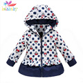 Belababy Girls Winter Coat Children Cute Polka Dot Hooded Down Jacket Kids Girl Warm Outwear Baby Girls Fashion Cartoon Clothes