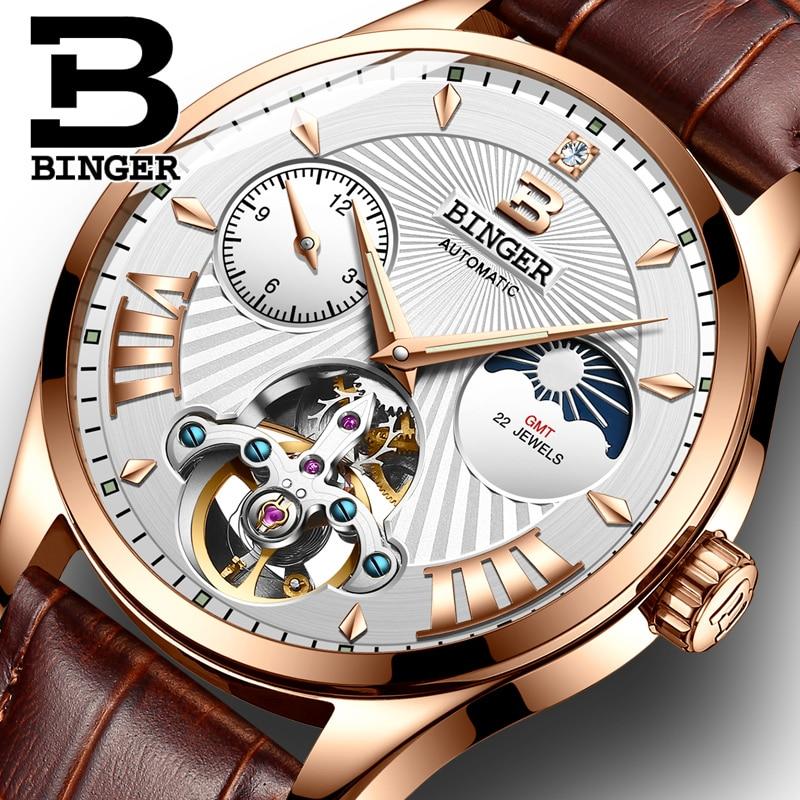Luxury Brand Men Switzerland Mechanical Watch Men Binger Role Watches Skeleton Sapphire Male's Waterproof Clock B-1186-6