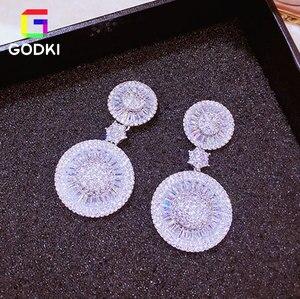 Image 5 - Godki brinco geométrico redondo, pacote com zircônia cúbica aaa