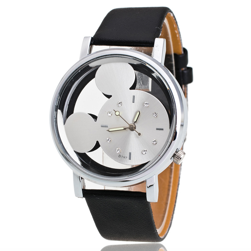 Luxury Brand Leather Quartz Watch Women Ladies Casual Fashion Bracelet Wrist Watch Wristwatches Clock Relogio Feminino Mouse 2017 new fashion tai chi cat watch casual leather women wristwatches quartz watch relogio feminino gift drop shipping