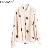 NiceMix 2019 new women fashion polka dots print casual loose smock blouse shirts lanters sleeve chemise chic feminina tops