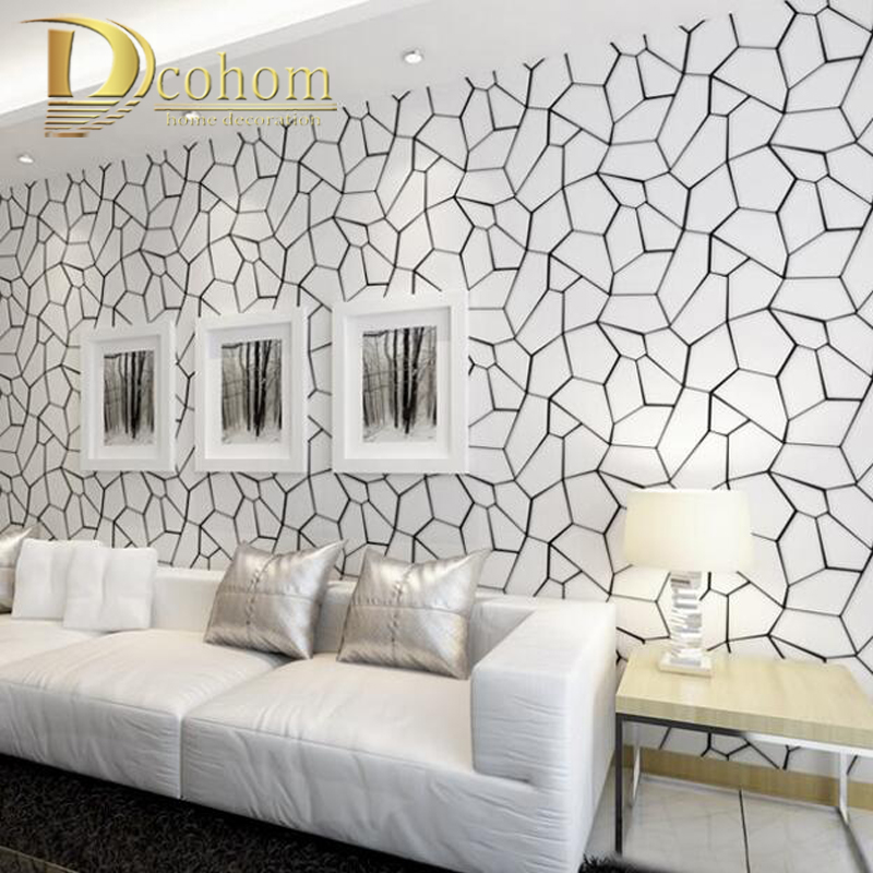 Luxury Modern 3D Abstract Geometric Wallpaper Roll For Room Bedroom Living Room Home Decor Relief Wall Coverings Black And White