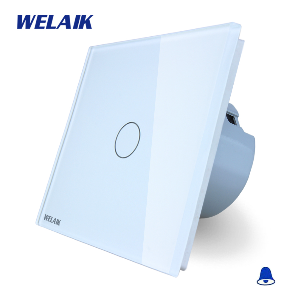 WELAIK Crystal Glass Panel Switch White Wall Switch EU Door Bell Touch Switch  Light Switch 1gang1way AC110~250V A1911MLCW/B welaik glass panel switch white wall switch eu remote control touch switch screen light switch 1gang2way ac110 250v a1914w br01