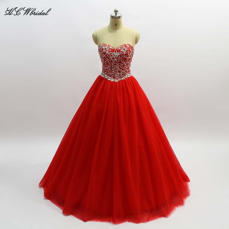 Exquisite Beaded Crystals Princess Quinceanera Dress Custom Made Red Tulle Floor Length Ball Gown Sweet <font><b>16</b></font> <font><b>Girls</b></font> <font><b>Sexy</b></font> Party Gown image
