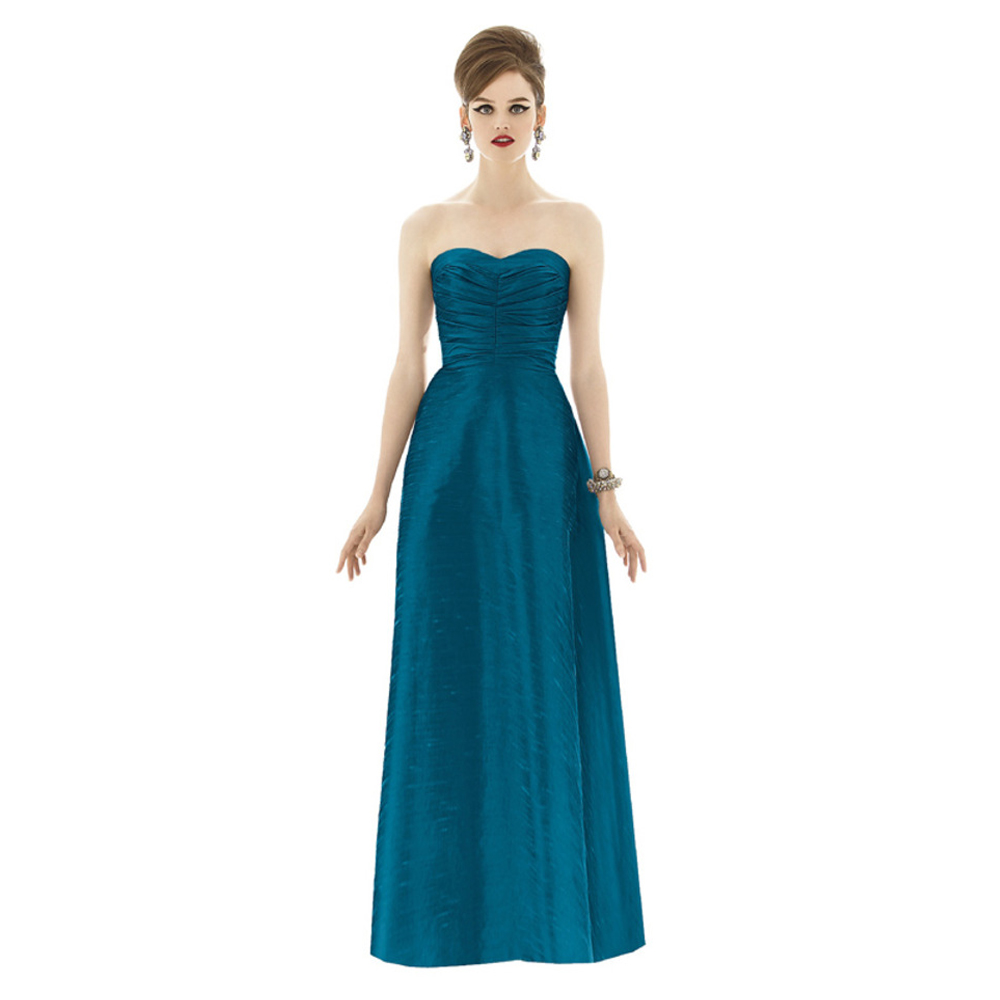 2016 simple blue bridesmaid dresses with sweetheart a line satin girl maid  honor gowns for weding party vestido festa d3d24845031f