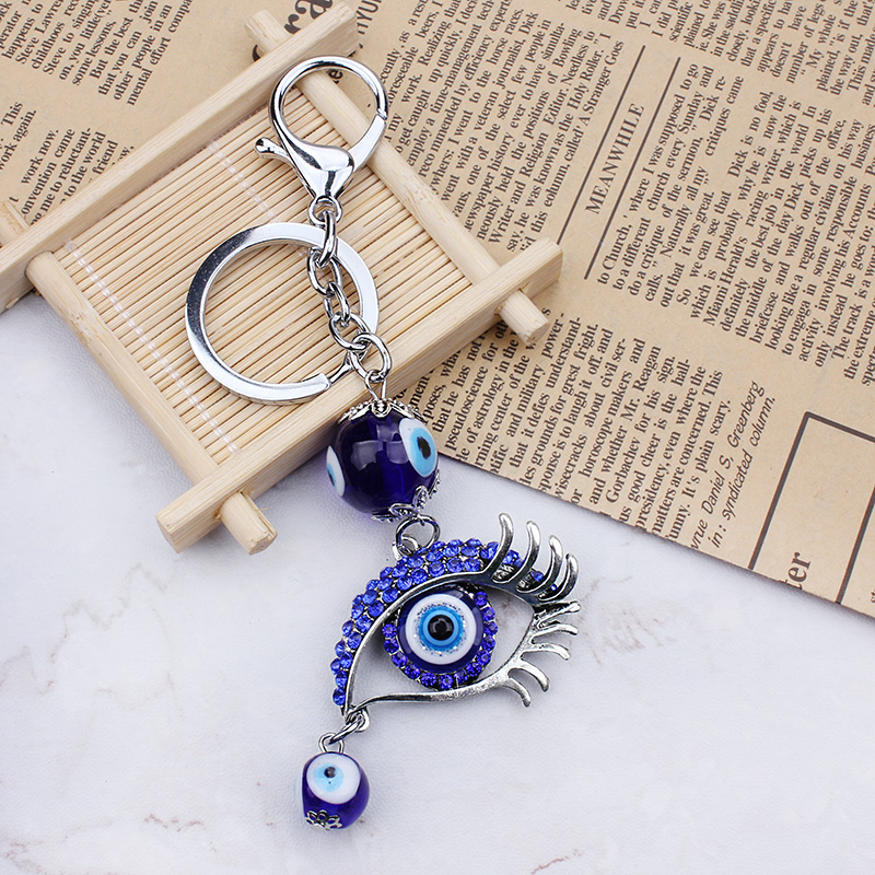 Mode Blå Evil Eye Glass Pärla Keychain Eye Nyckelring Crystal Lucky Eye Purse Keychains
