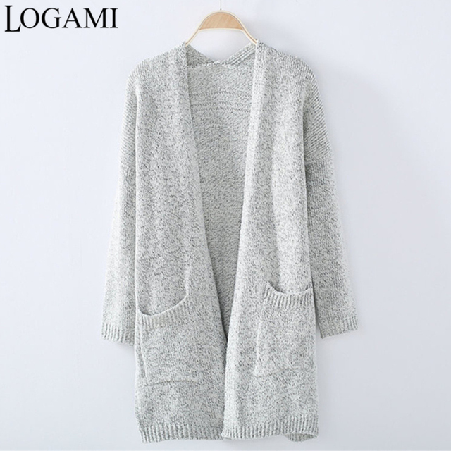 Cardigan Women Long Grey Knitted Sweater Cardigans Plus Size ...