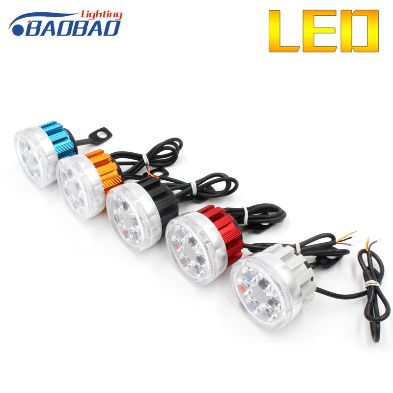 HuJo 2pcs/Set Super Bright 6LED RGB Motorcycle Headlights 6000K Lamp Rearview Mirror Beads With Angel Eyes Motorbike
