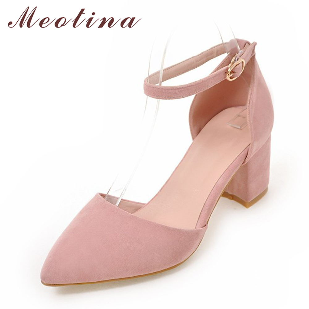 Meotina High Heels Women Pumps 2017 New Two Piece Thick Heels Ladies Party Pink Shoes Autumn Buckle Women Pump Large size 33-43 meotina high heels shoes women pumps party shoes fashion thick high heels pointed toe flock ladies shoes gray plus size 10 40 43