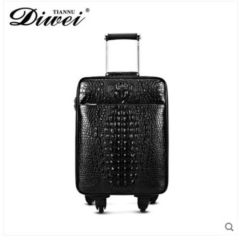 Diwei All-leather High-end Crocodile Leather Business Tie Box Wanxiang Wheel Genuine Cowhide Boarding Box Travel Men Bag