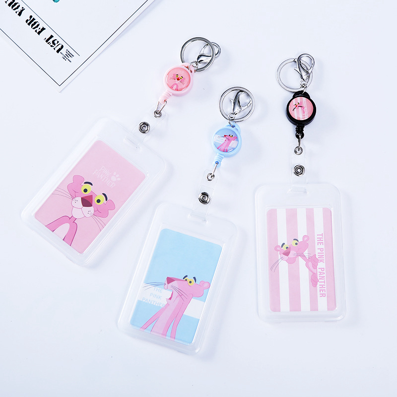 Cartoon Pink Panther Credit ID Card Holder Cover Women Girl Kid Travel Bank Bus Credit Card Card Holder Wallet Chain Keyring Key