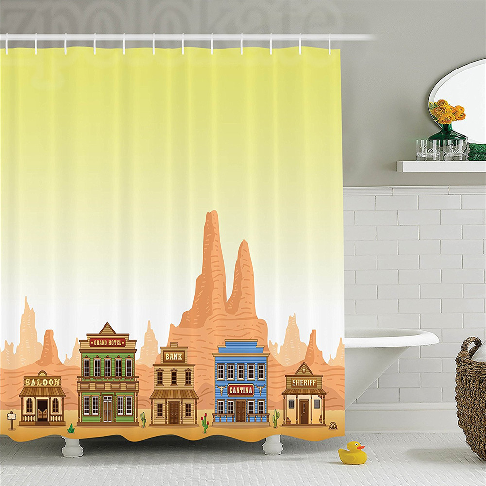 Saloon Wild West Town Architecture Illustration of Hotel Sheriff Office Bank Cafeteria Image Print Polyester Shower Curtain